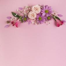 粉色背景花卉装饰