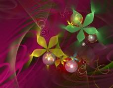 两片叶子花球荧光素材
