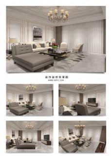 欧式奢华大气客厅装修设计图