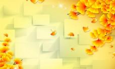 金色树叶立体电视背景墙