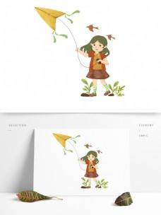小女孩草地放风筝可商用场景