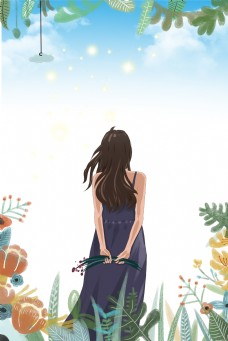 手抓青草的少女节背景图片