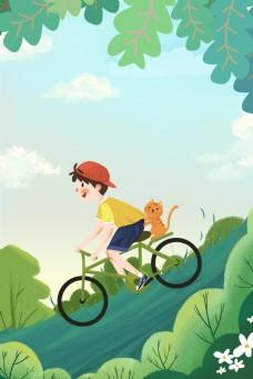 春天在山坡上骑车的男孩海报背景