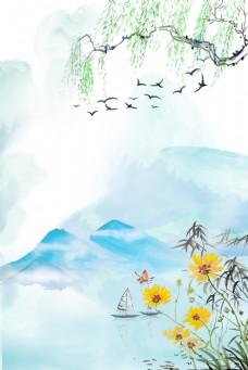 中式手绘水墨风春天惊蛰节气背景