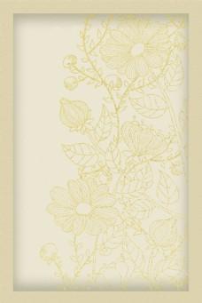 复古素雅线描花卉边框