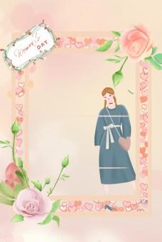 花朵边框少女节海报背景图
