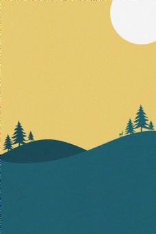 插画风山坡松树麋鹿太阳背景海报