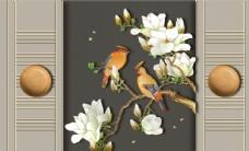浮雕花鸟玉兰花背景墙