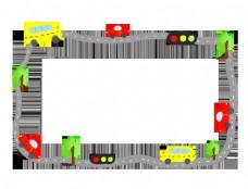 手绘汽车边框插画