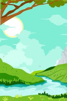 草原河水树木春分背景