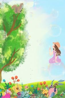 春天绿树下吹泡泡的孩子