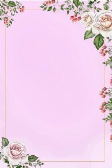 春天手绘水彩画框边框