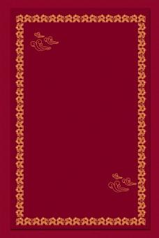 中国风花纹边框玫红色背景海报