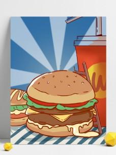 蓝色清新手绘美味汉堡插画背景