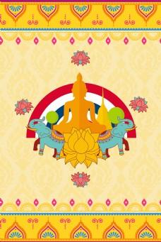 泰国出游卡通花纹海报背景
