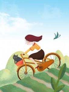 春季野外郊游骑自行车背景