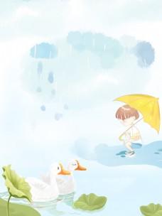 初夏河塘大白鹅背景