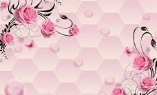 粉玫瑰花藤蜂窝背景立体背景墙