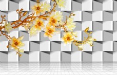金色玉兰花个性立体电视背景墙