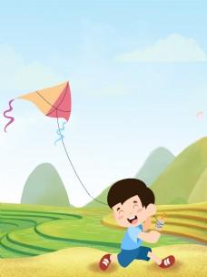 春季清明踏春放风筝背景
