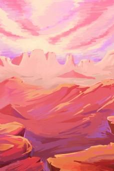 彩色远山风景背景