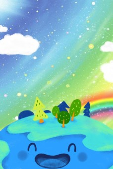 世界地球日保护环境卡通广告背景