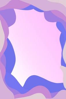 彩色可爱紫色波浪边框海报背景