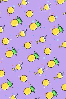 清新菠萝可爱文艺背景
