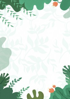 绿色绿叶春天海报背景
