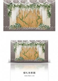 清新白绿色婚礼合影区效果图