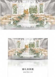 清新白绿色婚礼舞台效果图