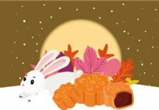 下雪中秋月饼兔子