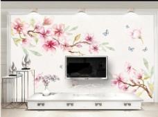 抽象水彩花卉蝴蝶背景