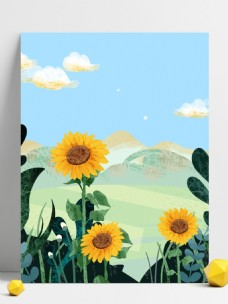 手绘春天向日葵花朵背景设计