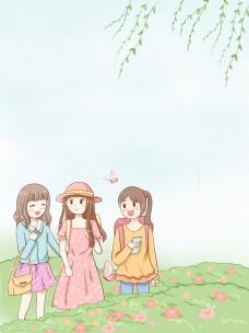 春季女孩野外旅行背景