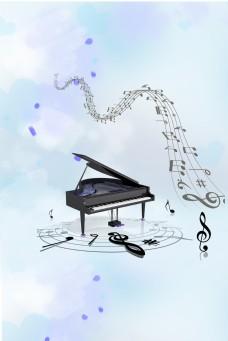 跳动的钢琴音符海报