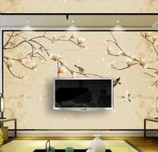中式手绘玉兰花花鸟硬包背景墙