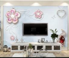 现代简约3D珍珠钻石壁画背景墙