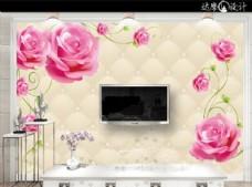 玫瑰花藤3D立体软包电视背景墙
