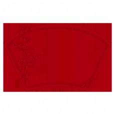 扇形中国风古典红色边框PNG素材