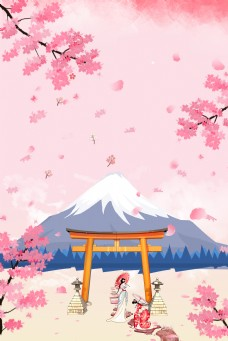 唯美樱花旅行背景