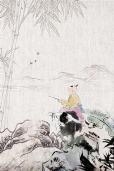 中国风清明节牧童竹子山石背景