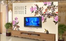 电视背景墙牡丹花背景