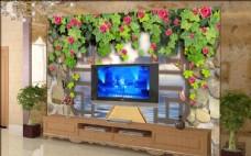 田园花朵电视背景墙壁画