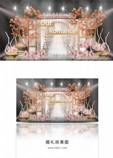 香槟色秋叶亚克力拱门方格屏风婚礼效果图