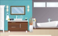 浴室场景插画