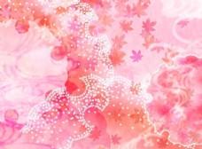 粉色枫叶背景斑点图案素材