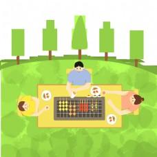 平面设计中的野餐和烧烤背景