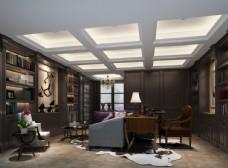 现代轻奢书房效果图3D模型