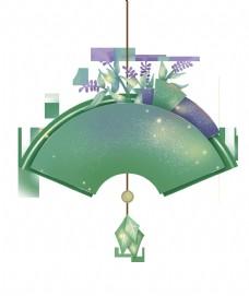 紫绿色光点扇形剪纸文字边框PNG
